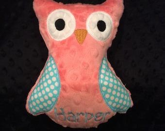 Coral and Aqua Polkadot Owl/owl/stuffed owl/stuffed toy/personalized toy/personalized owl toy/personalized baby toy/baby toy/newborn toy