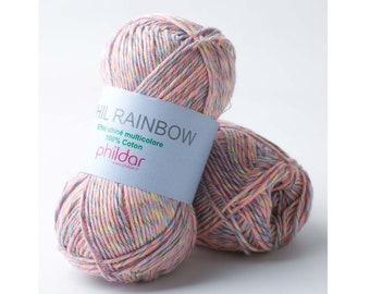NEW! Phildar Rainbow yarn - Gradient cotton yarn - Colorful summer yarn - DK yarn - DK cotton yarn - Gift for knitter - Gift for mother