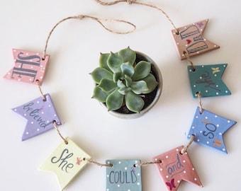 She believed she could so she did wall art - She believed she could so she did sign - Clay bunting - Nursery decor -Polka dot nursery banner