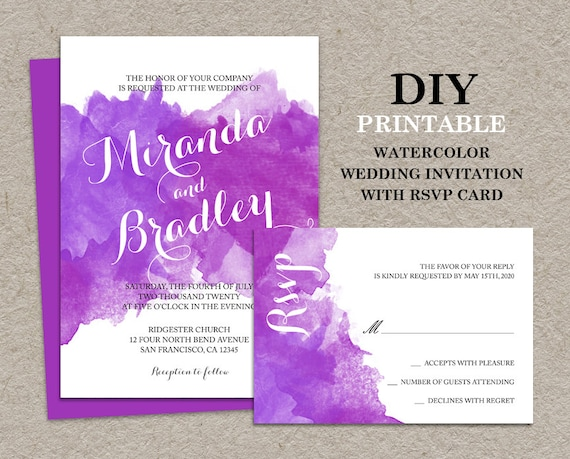 Items similar to DIY Watercolor Wedding Invitation With RSVP Card ...