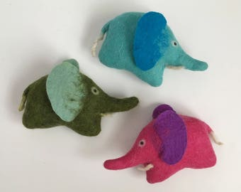 Baby Elephant, felt stuffed animal, handmade toy, soft sculpture, eco friendly, stocking stuffer, pocket toy