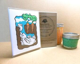 Bunnies in the Carrot Garden hand-silkscreened notecards, Boxed Set of 4