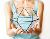 Geometric Terrarium, Stained Glass Succulent Planter, Dad Gift, Wedding Centerpiece, Cabinet Decor, Copper Home Decor, Coffee Table Decor