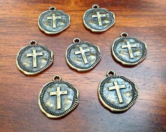 20pcs Hammered Cross Charms, Antique Bronze Charms, Bronze Cross Charms, Round Cross Charms, Coin Cross Charms, Craft Supplies, Findings