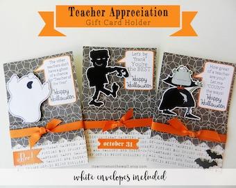KIT Gift Card Holder, Halloween Teacher Gift Card Holder, Dracula, Ghost, Frankenstein, Halloween Card for Teacher, Substitute Teacher Cards
