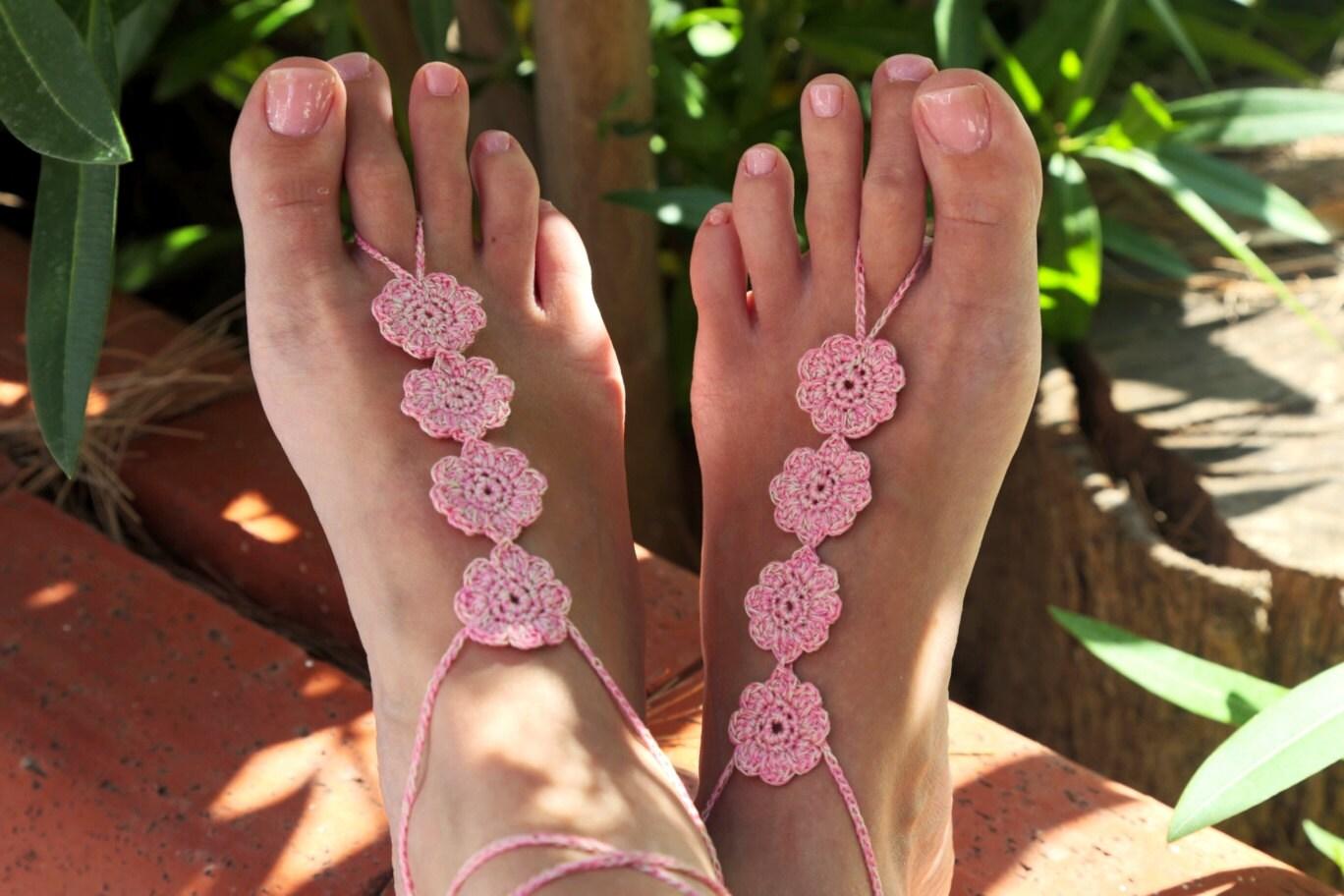 Blumige barfuss Sandalen barfuß Sandalen Strand-Zubehör