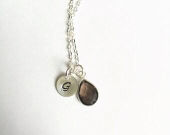 Sterling Silver Bezel Set Teardrop smoky quartz Gemstone Necklace with Initial Charm Add-On