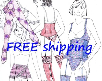 Sewing Pattern JAR6 for Stocking Suspender Waistcorset FREE Shipping by Merckwaerdigh