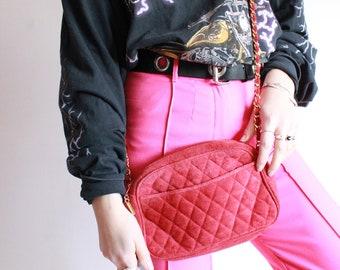 Vintage 90s Red Quilted Suede Handbag