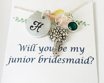 Junior Bridesmaid Necklace, Junior Bridesmaid Gift, Wedding Necklace, Wedding Jewelry, Hand Stamped, Will you be my junior bridesmaid
