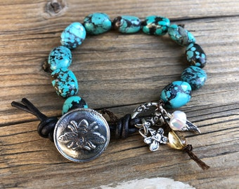 Chunky Arizona Turquoise Bee Bracelet, Artisan Pure Silver Components, Artisan Bee Button Closure, Citrine, Gift for her