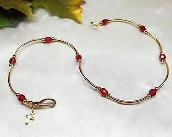 Ruby Ankle Bracelet Gold Cross Anklet Ruby Anklet Ruby Red Crystal Anklet 14k Gold Plate or 14k Gold Filled Anklet BuyAny3+Get1 Free