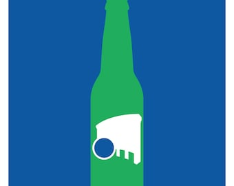 Rolling Rock Beer Bottle Poster