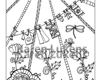 5 pages, Happyville Coloring Pack #2 , 5 Adult Coloring Book Pages, Printable Instant Download
