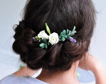 Wedding hair accessory Flower pins wedding flower girl green leaves hair flower cream Flower hair accessory wedding hair pin bridal hair pin