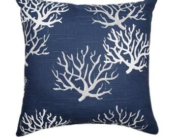 Nautical Navy Pillow Cover, 18x18, 20 x 20, Beach Pillows, Ocean Decor, Sea Coral Pillow, Navy Coral Pillow, Nautical Decor, Beach Decor