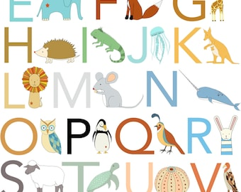 Alphabet Print, Fine Art Print by Kate Durkin, Nursery Alphabet Art
