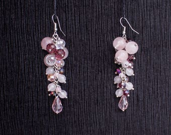 Earrings with Pink Quart and Crystals Handmade