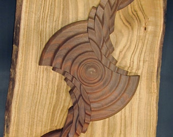 """sculpture turned wood, """"Centrifugal Force"""", wall hanging"""
