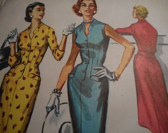 Vintage 1950's McCall's 3681 Sheath Dress Sewing Pattern Size 14 Bust 32