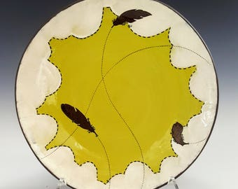 Dinner Plate in Chartreuse with Feather Details