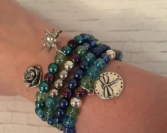 Multi-Colored Beaded Bracelets with Charms / Arm Stacks / Mix and match / Gift Under 20 / Summer Jewelry / Boho / Charms/ Dragonfly