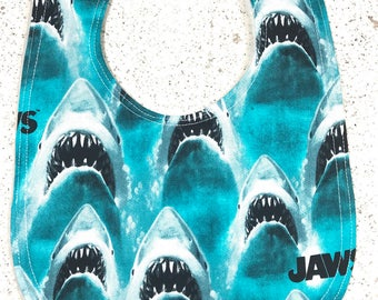 Jaws  Baby Bib - Infant Bib - Dribble Bib - Shark - Ocean - Horror - Geek - Baby Shower Gift - handmade