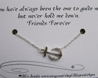 Best Friend Anchor Charm Necklace and Friendship Quote Inspirational Card- Bridesmaids Gift - Friends Forever - Quote Gift- Graduation Gift