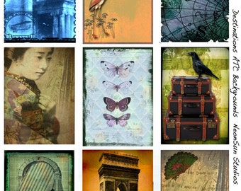 Travel ATC Backgrounds, Ancient map Collage Sheet,  Butterfly, Geisha, Postal, INSTANT DOWNLOAD