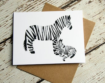 Zebra with Foal Card of Original Collage