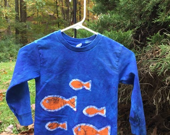 Kids Fish Shirt, Kids Ocean Creature Shirt, Blue Fish Shirt, Kids Ocean Shirt, Boys Fish Shirt, Girls Fish Shirt, Long Sleeve Shirt (4T)