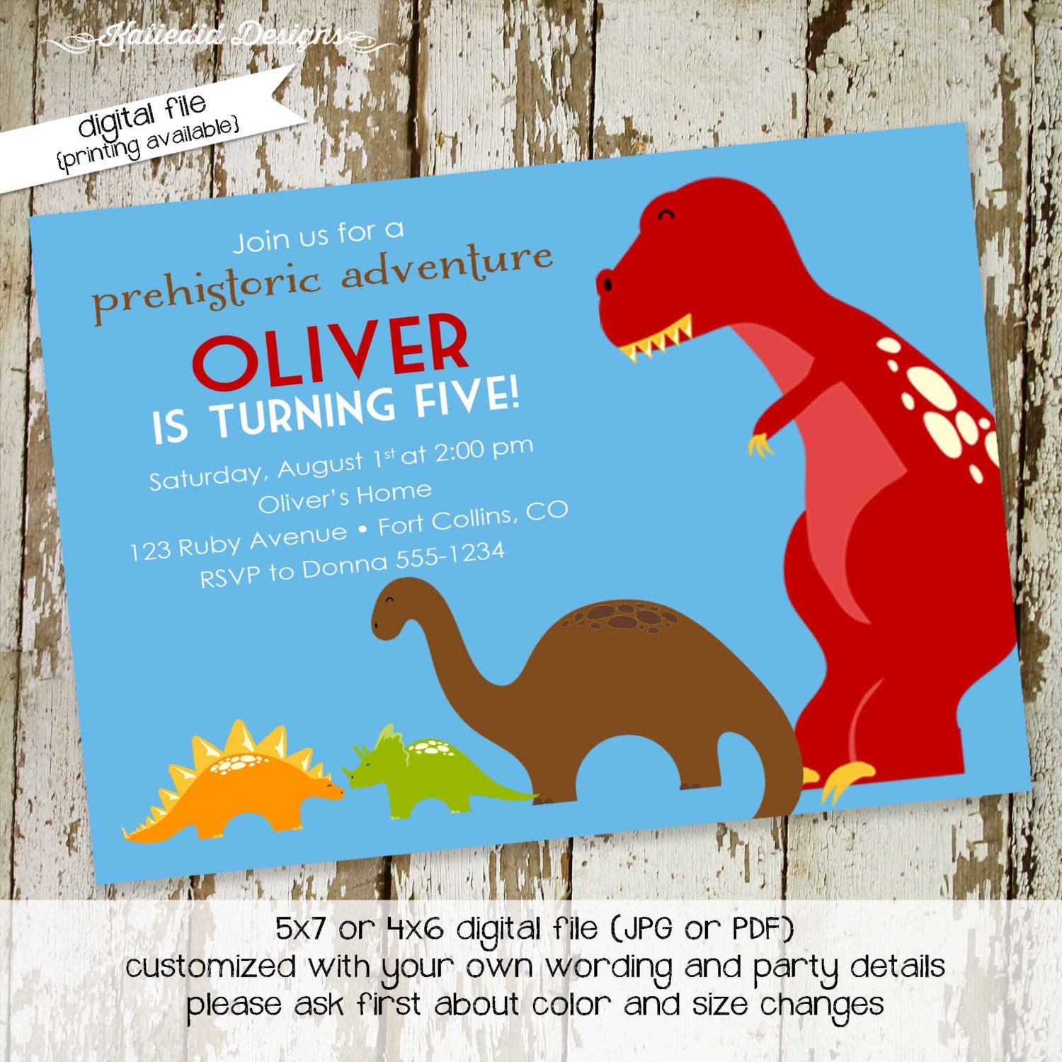 little boy 1st birthday dinosaur dino roar coed party invite