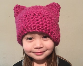 Pussyhat - Women's Pink Berry Pussy Hat Project - Kitty Beanie - Women's March - Cat Hat