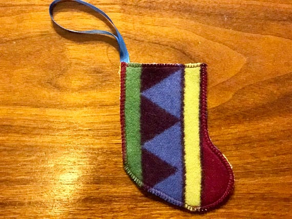 Christmas Stocking Ornament / Gift Tag / Gift Card Holder / Money Holder Wool
