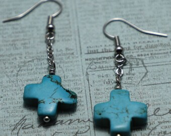Cross Turquoise Earrings