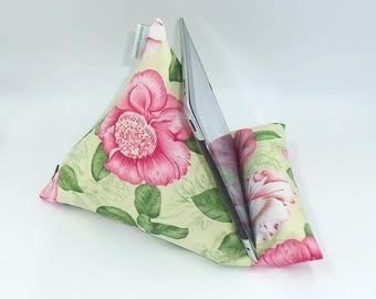 "Tablet, Kindle or Book Bean Bag iPad holder travel stand beanbag ""Gardenia"" hand made by Joella Hill Australian Seller"