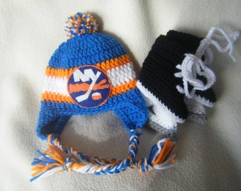Crocheted New York Islanders Hockey Hat and Ice Skate Set - These Are Made to Order