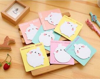 Molang Sticky notes, potato rabbit sticky notes, memo pad, notepad, post it