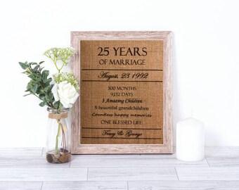 Anniversary Burlap Print - Personalized Anniversary Print -  50th Anniversary -  40th Anniversary - 25th Anniversary - Anniversary Gift