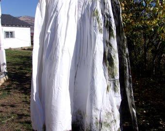 Shibori maxi skirt/ Pole wrapped skirt/ Shibori skirt/ Hand dyed skirt/ Green skirt/ Hippy skirt/ Hippy