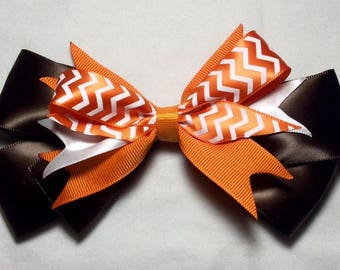 Brown and Orange Fall Hair Bow
