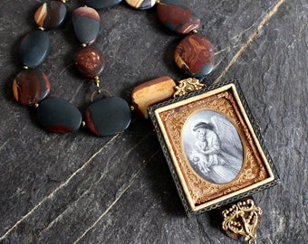Daguerreotype case Guardian angel retrofitted ornate antique watch fob and child assemblage necklace jewelry vintage steampunk memento mori