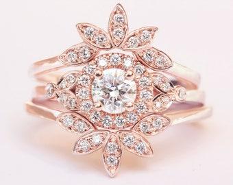 Diamond Rome Ring, Three Ring Set, Diamond Ring Set, Leaves Diamond Ring, Engagement Ring Set, Wedding Ring Set, Bridal Ring Set,