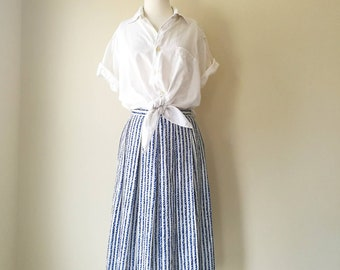 Vintage GIVENCHY port rope print pleated blue and white skirt