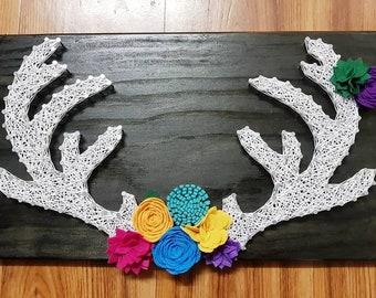 Antlers Felt Flower Wall Art String Art Home Decor Gift