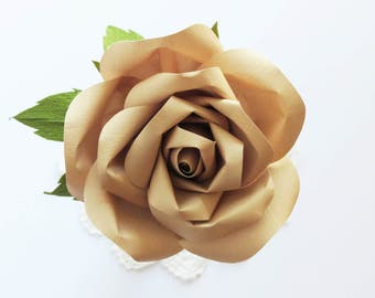 3rd Wedding Anniversary Gift: Leather Anniversary Paper Rose