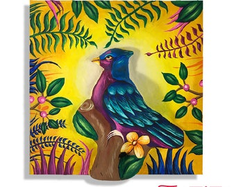 Bird picture, wall decor, traditional illustration, 3d painting, wooden box and paper mache, handmade handicraft, Color
