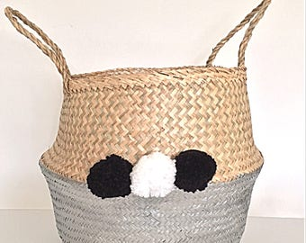 Straw Belly Basket handpainted with metallic silver paint and decorated with black and white pom poms, Home Decor