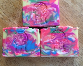 Glow in the dark soap- Fruit Fantasia Cold Process Soap- Artisan Soap- Handmade Soap- Colorful Soap- Neon Colors Soap- Bar Soap- Soap