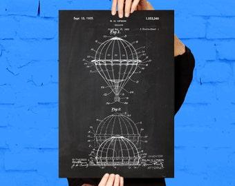 Hot Air Balloon Patent, Hot Air Balloon Poster,  Hot Air Balloon Print, Hot Air Balloon Art, Hot Air Balloon Decor